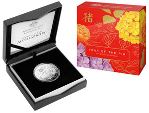 2019 $5 1oz Silver Proof Lunar Calendar Year of the Pig