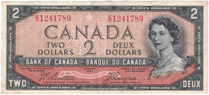 "1954 Canada $2 Note Pair - ""Devils Face"" & Amended Issue"