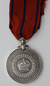 GB 1911 King George V Coronation St Johns Ambulance Brigade Medal Silver