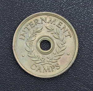 WWII Internment Camp Token One Shilling - aUNC