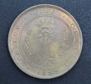 1892 Ceylon Five Cents - UNC