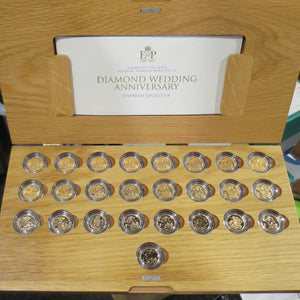 1957 to 2007 25 Coin ER II Diamond Wedding Gold Sovereign Collection - Royal Mint