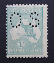 1913 Kangaroo and Map 1/- MUH Small OS - Green