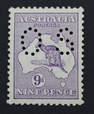 1913 Kangaroo and Map 9d MUH Small OS - Violet