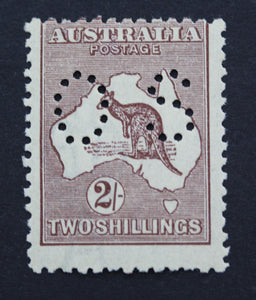 1913 Kangaroo and Map 2/- MUH Small OS - Maroon