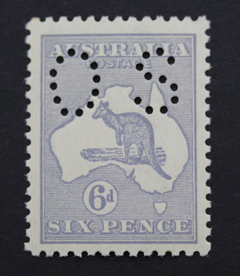 1913 Kangaroo and Map 6d MUH Small OS Ultramarine