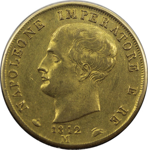 Italy 1812M 40 Lire Kingdom of Napoleon - gVF