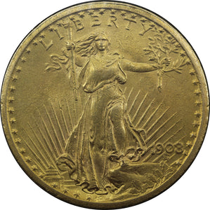 USA 1908 $20 St Gaudens Double Eagle - aUNC