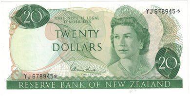 New Zealand 1977-81 $20 Hardie Star Note - UNC