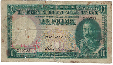 1935 Straits Settlements $10 - Poor/Repaired