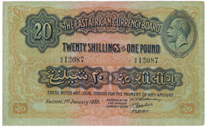 East Africa 1st Jan 1933 20 Shillings - VF