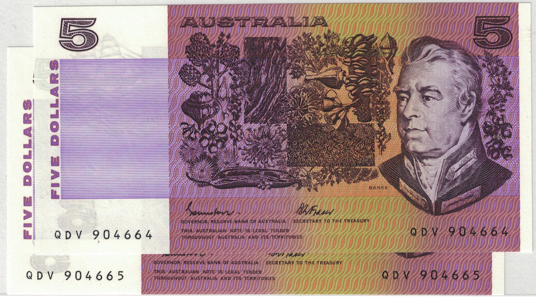 1985 $5 R209a Johnston/Fraser OCR-B Consecutive Pair UNC