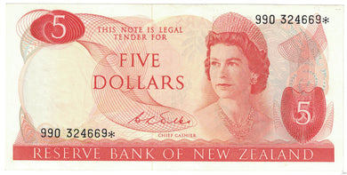 New Zealand 1968-75 $5 D.L.Wilks Star Note - gEF