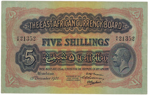 East Africa 15th December 1921 5 Shillings - gVF