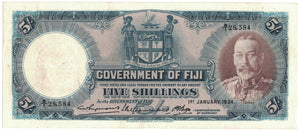FIJI 1st January 1934 5 Shillings - VF