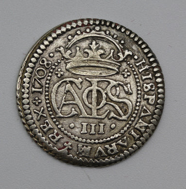 1708 Spain Charles III Two Reales Pretender Coinage - EF