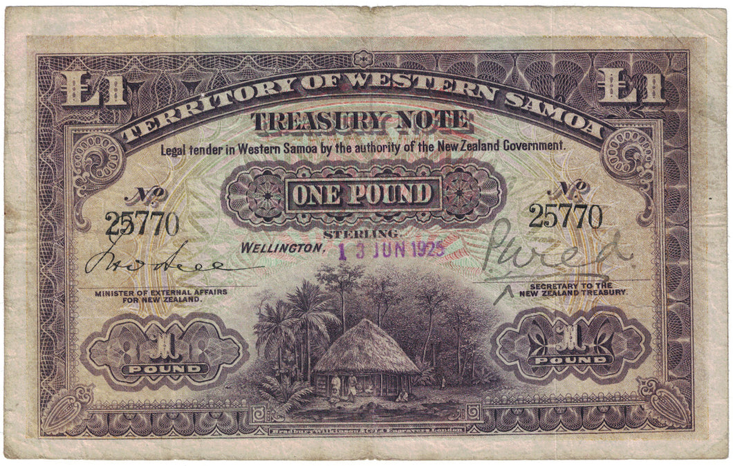 Western Samoa 13th June 1925 1 Pound - Fine