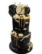 2-Tier Black and White Textured Watercolour with Gold Metallic Drip Speciality Cake