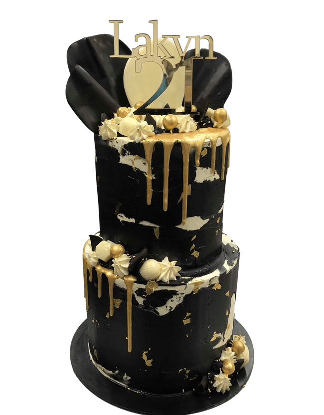 Cake Creations by Kate™ SpecialityCakes 2-Tier Black and White Textured Watercolour with Gold Metallic Drip Speciality Cake