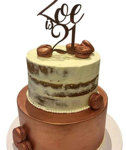 2-Tier Bronze and White Semi-Naked Speciality Cake