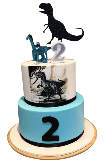 Cake Creations by Kate™ SpecialityCakes 2-Tier Dino Topper and Edible Print Fondant Speciality Cake