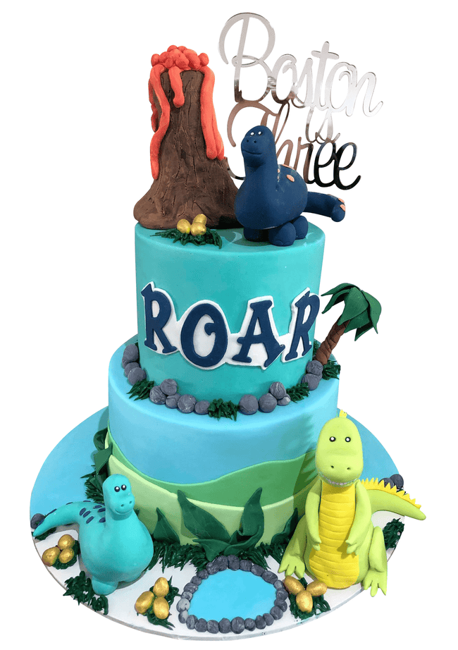 Cake Creations by Kate™ SpecialityCakes 2-Tier Fondant Dinos and Volcano Speciality Cake