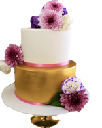 Cake Creations by Kate™ CustomCakes 2-Tier Gold and White Fondant Floral Custom Cake