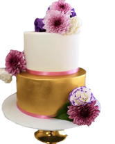 2-Tier Gold and White Fondant Floral Custom Cake