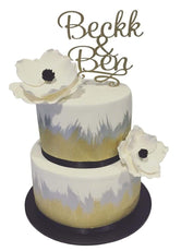 2-Tier Gold, Silver and White Painted Fondant Floral Custom Cake