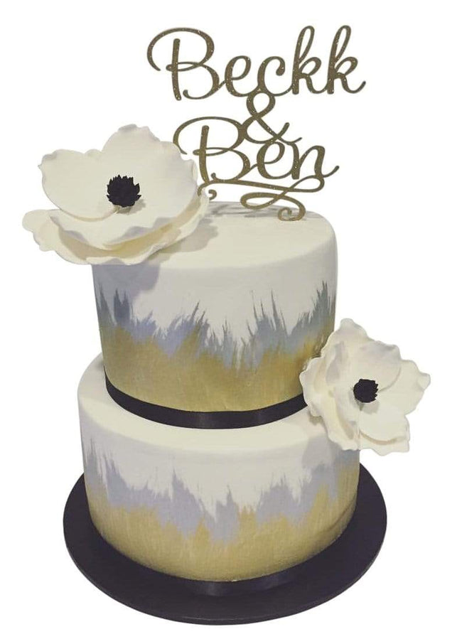 Cake Creations by Kate™ CustomCakes 2-Tier Gold, Silver and White Painted Fondant Floral Custom Cake