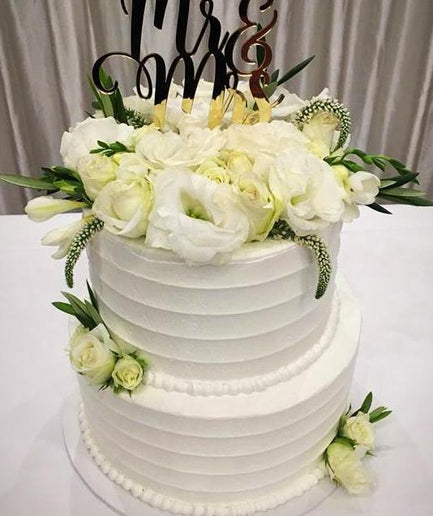 2-tier Mr & Mrs Floral Custom Cake