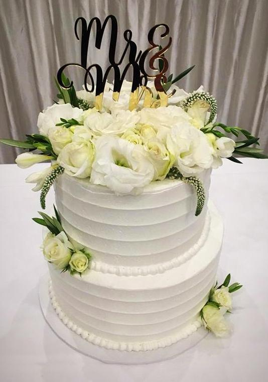 2-Tier Mr & Mrs Floral Custom Cake - Customcakes