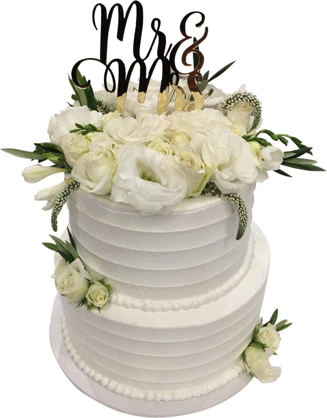 Cake Creations by Kate™ CustomCakes 2-tier Mr & Mrs Floral Custom Cake