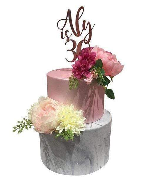 Cake Creations by Kate™ CustomCakes 2-Tier Pink and Grey Marble Fondant Custom Cake