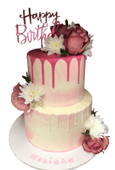 2-Tier Pink and White Watercolour Buttercream Speciality Cake