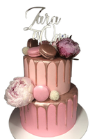 2-Tier Pink Watercolour Buttercream with Metallic Drip Floral Speciality Cake