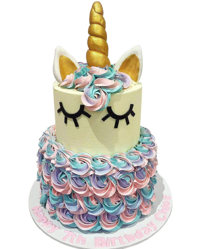 Cake Creations by Kate™ SpecialityCakes 2-Tier Rainbow Unicorn Speciality Cake
