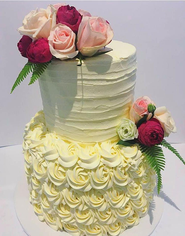 2-Tier Rosette And Textured Buttercream Custom Cake - Customcakes