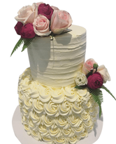 2-tier Rosette and Textured Buttercream Custom Cake