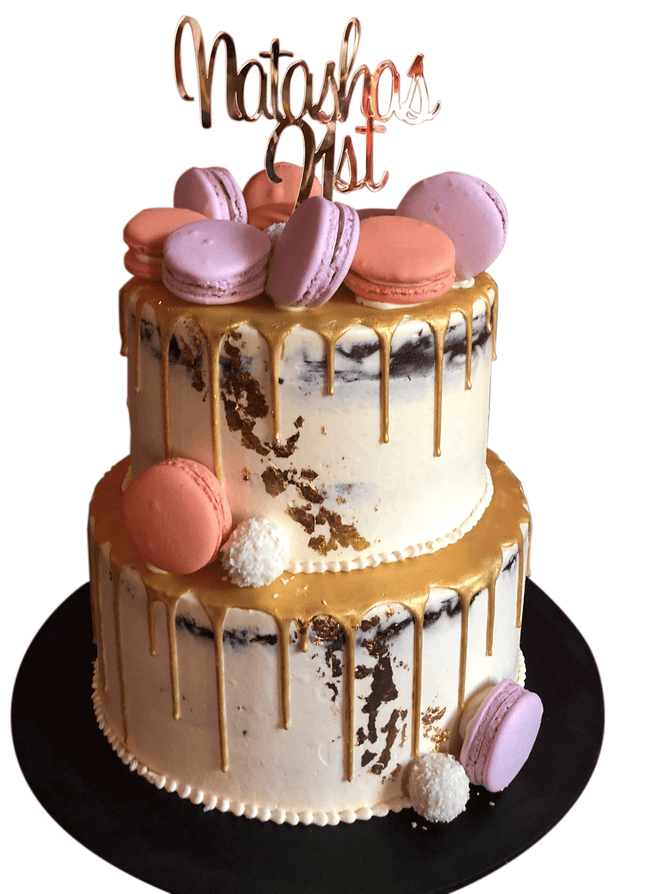 Cake Creations by Kate™ SpecialityCakes 2-Tier Semi-Naked Buttercream with Metallic Drip Speciality Cake