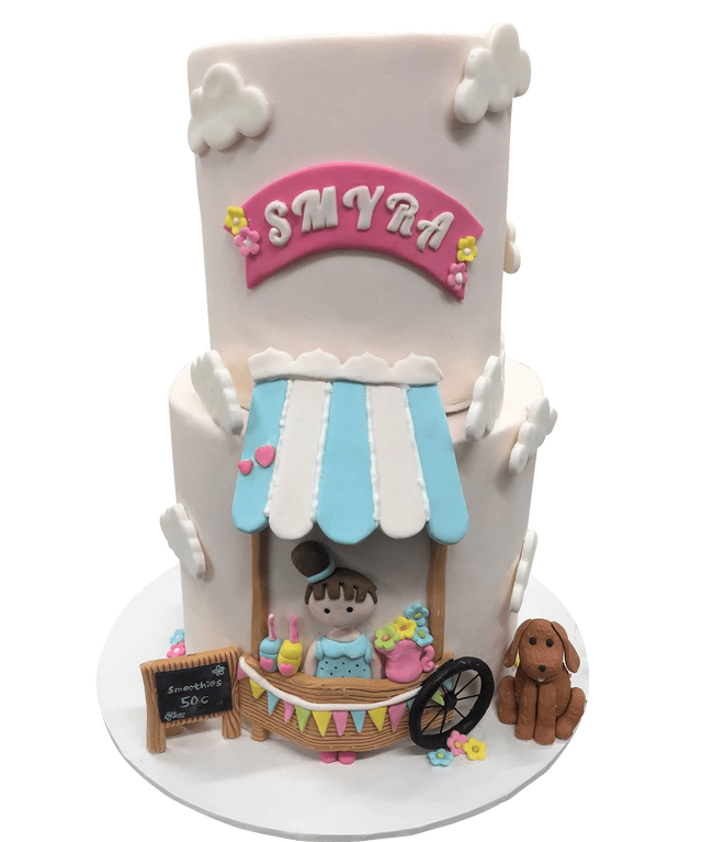 Cake Creations by Kate™ SpecialityCakes 2-Tier Smoothie Stand Pale Pink Fondant Speciality Cake