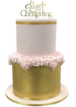 2-Tier Soft Pink and Metallic Gold Ruffle Fondant Speciality Cake
