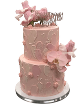 2-Tier Soft Pink Watercolour Floral Speciality Cake