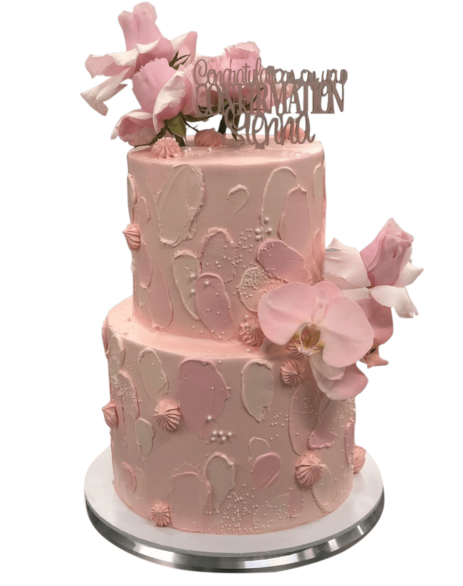 Cake Creations by Kate™ SpecialityCakes 2-Tier Soft Pink Textured Watercolour Floral Speciality Cake