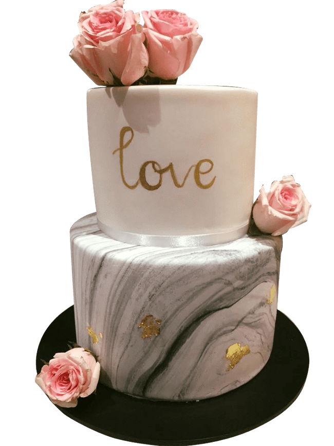 Cake Creations by Kate™ CustomCakes 2-Tier White and Gray Marble Fondant Floral Custom Cake