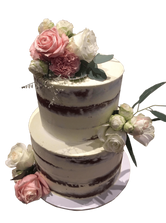 2-Tier White Semi-Naked Floral Custom Cake