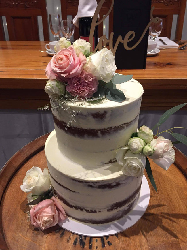 Cake Creations by Kate™ CustomCakes 2-Tier White Semi-Naked Floral Custom Cake