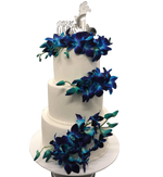 3-tier Blue Orchids and White Fondant Custom Cake