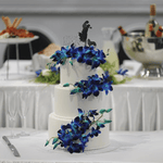Cake Creations by Kate™ CustomCakes 3-tier Blue Orchids and White Fondant Custom Cake