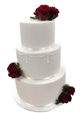 3-tier Classic Red and White Fondant Custom Cake